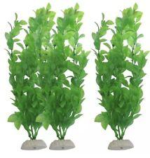 """UK LARGE 10"""" + 3x Aquarium Fish Tank Artificial Plastic Plants Green Ornament"""