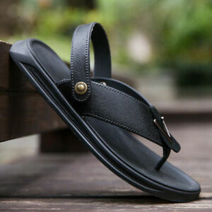Mens Sports Sandals Slippers Leather Flats Beach Flip Flops Comfy Summer Shoes