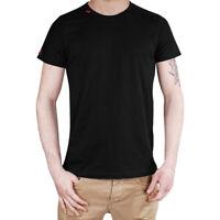 T-Shirt Uomo Maglia Mezza Manica Girocollo Slim Casual Nero Ricamo Rosso Cotone