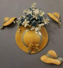 Homco Home Interiors Burwood Hat Wall Planter and Blue Rose Floral Arrangement