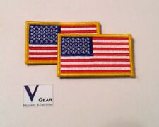 US USA American Flag patch GOLD Border HOOK style Back  LOT of 2