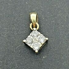 Stunning Simple 9ct Yellow Gold 4 Diamond Square Pendant - Great Condition