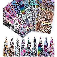10Pcs/Set Leopard Nail Foils Nail Art Transfer Stickers Decals Nails Decoration
