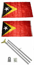 3x5 East Timor Leste 2ply Flag Aluminum Pole Kit Set 3'x5'