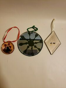 Etched Glass Christmas Tree Ornaments Lot of 3 Decorations Bell Holly