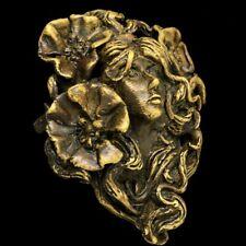 Vintage Sculpture Art Bronze Forêt Femme Floral Déesse Artwork Boucle Ceinture