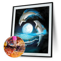 Dolphin Painting Embroidery DIY 5D Diamond Cross Stitch Home Crafts Decor N#S7