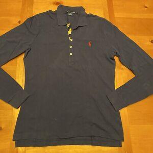 Ralph Lauren Sport Rugby Polo Shirt Women's Size Large Navy Blue Long Sleeve