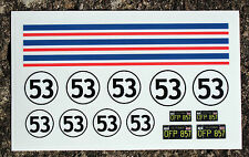 HERBIE 18th scale pre cut stickers/decals, idea for RC and Die Cast model VW