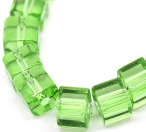 "75 Glass Cube Bead Light Green 5mm x 5mm One Strand - 3/16"" x 3/16"" BD269"