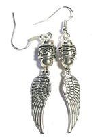 Long Silver Angel Wing Pierced Earrings Antique Vintage Tibetan Style Charm