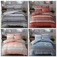Ombre Stripe Reversible Quilt Duvet Cover with Pillow Case Bedding Set All Sizes