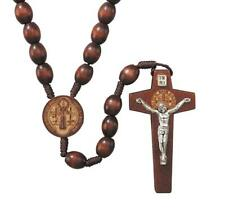 Laser Engraved Wooden Prayer Bead Saint Benedict Cord Rosary, 19 Inch
