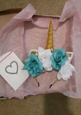 unicorn headband large roses horn glittery