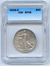 1918-D 50C Walking Liberty Silver Half Dollar. ICG Graded EF 45. Lot #2533