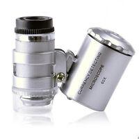 60x Handheld Mini Taschenmikroskop Lupe Schmuck Lupe LED-Licht