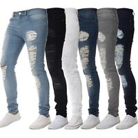 ENZO Designer Mens Super Stretch Skinny Jeans Ripped Distressed Blue Black Denim