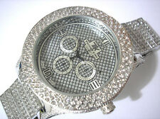 Iced Out Bling Bling Metal Band w Crystals Techno King Men's Watch Silver