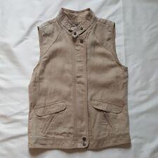 Michael Stars Womens Sleeveless Linen Zip Up Vest Toast Tan Size Small MSRP $168