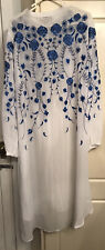 Charlotte Temperley Size 18 Blue Embroidered Shirt Dress John Lewis White Long