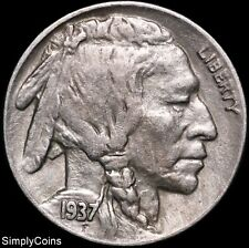 1937-D Indian Head Buffalo Nickel ~ XF Extremely Fine ~ US Coin MQ