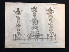 Antigüedad 1800 impresión constructores de Arco. revista 3 Diseños Para Lámpara hierros LXIII
