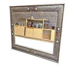 Moroccan Arabesque Silver Finished Carved Embossed Bone Accented Wall Mirror