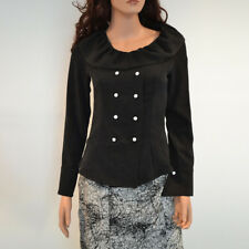 NWT XS-S-M-L Black Polyester Scoop Neck Button Down Long Sleeve Shirt Top Blouse