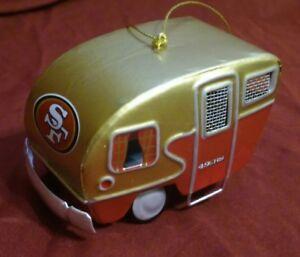 "San Francisco 49ers SF Team Camper Ornament Trailer - NFL 2 1/4"" tall 4"" long"