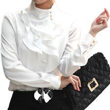 White blouse Dress Satin Elegant Ladies Career Shirt Office Winter Top Size 6 8