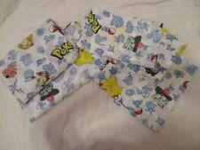 Vtg Pokemon Curtain Panels Valance Fitted/Flat Sheet Pillowcase 1998 Nintendo