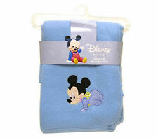 """DISNEY BABY MICKEY MOUSE BLUE EMBROIDERED FLEECE THROW BLANKET 30"""" x35"""" NEW"""