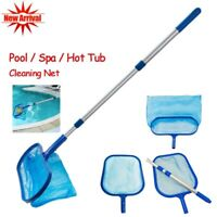 US Swimming Pool Leaf Skimmer Net with Pole Deep Flat Bag Telescopic Accessories