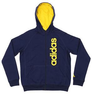 Adidas Youth Full Zip Solid Embroidered Hoodie, Navy/ Yellow