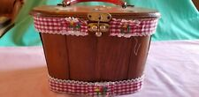 Beautiful Vtg. Wooden Box Purse Girl collecting Eggs Cloth Lined-Bakelite Handle