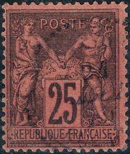 FRANCE SAGE 25c NOIR S ROUGE N° 91 RARE OBLITERATION CACHET PERLE