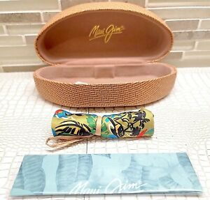 New Maui Jim Hard Case Clam shell, MJ Cleaning Cloth and MJ Floral Pouch (Large)