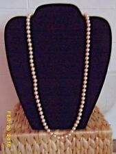 "VINTAGE MARVELLA 24""  CHAMPAGNE PINK STRAND OF  PEARLS NECKLACE"