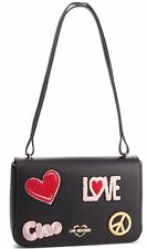 NEWT 100% AUTH LOVE MOSCHINO BLACK ECO LEATHER W EMBROIDERY W STRAP  BAG PURSE