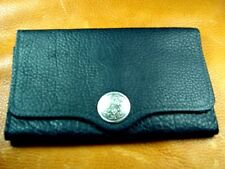 Black Bison BUFFALO LEATHER Clutch Wallet handcrafted disabled Navy veteran 5045