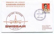 FFC 1973 Swissair First Direct Flight DC 10 30 Kinshsa Zurich Zaire Suisse