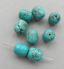 6pcs- chunk barrel beads,14mmX12mm green Turquoise gemstone beads