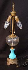 Victorian lamp, light blue glass base