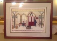 Hand cross stich embroidery picture of Train Station Platform framed