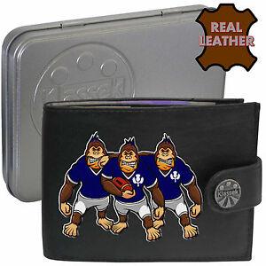Rugby Player Bifold Card Holder Leather Black Wallet RFID Safe 306