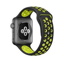 Caoutchouc Silicone Bracelet pour Apple I-Montre Taille 38mm - Noir Vert