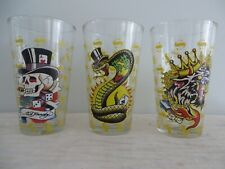 (3) Ed Hardy Pint Glasses by Christian Audigier Skull Snake Lion Barware 16 oz