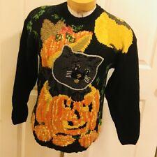 Halloween Ugly Sweater Black Cat Pumpkin Jack O Lantern Bat Crystal Kobe Medium