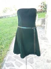 NUOVO Jessica McClintock vestito donna scollo a fascia in velluto verde