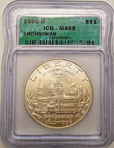 1996 D SILVER DOLLAR MS69 SMITHSONIAN COMMEMORATIVE ICG GRADED COIN